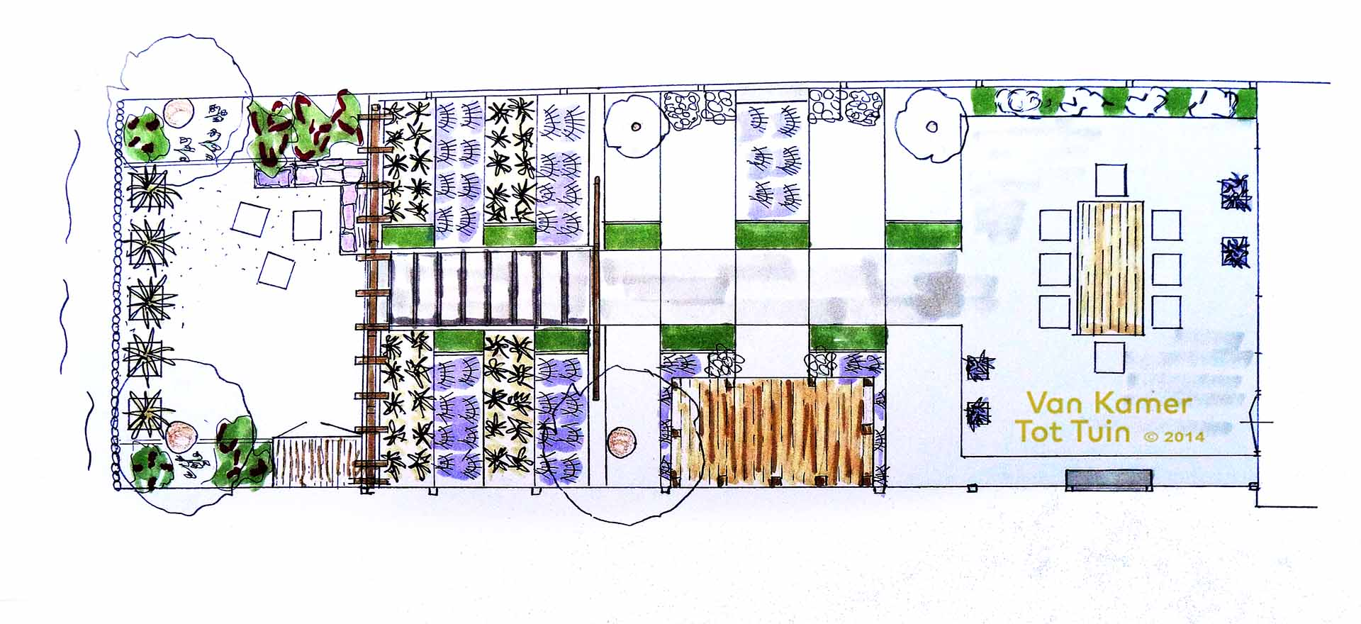 Stadstuin aan het water smal en diep van kamer tot for Plattegrond tuin maken