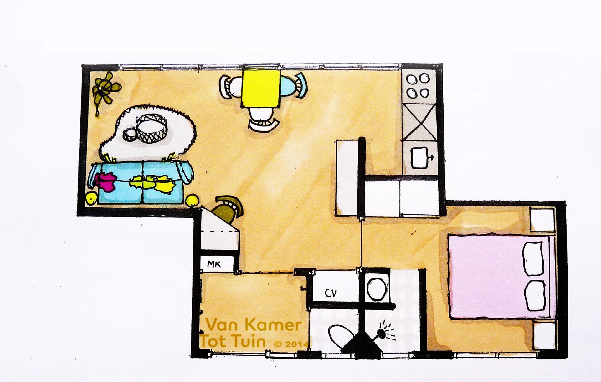 Wonen in een container van kamer tot tuinvan kamer tot tuin for Interieur tekenen
